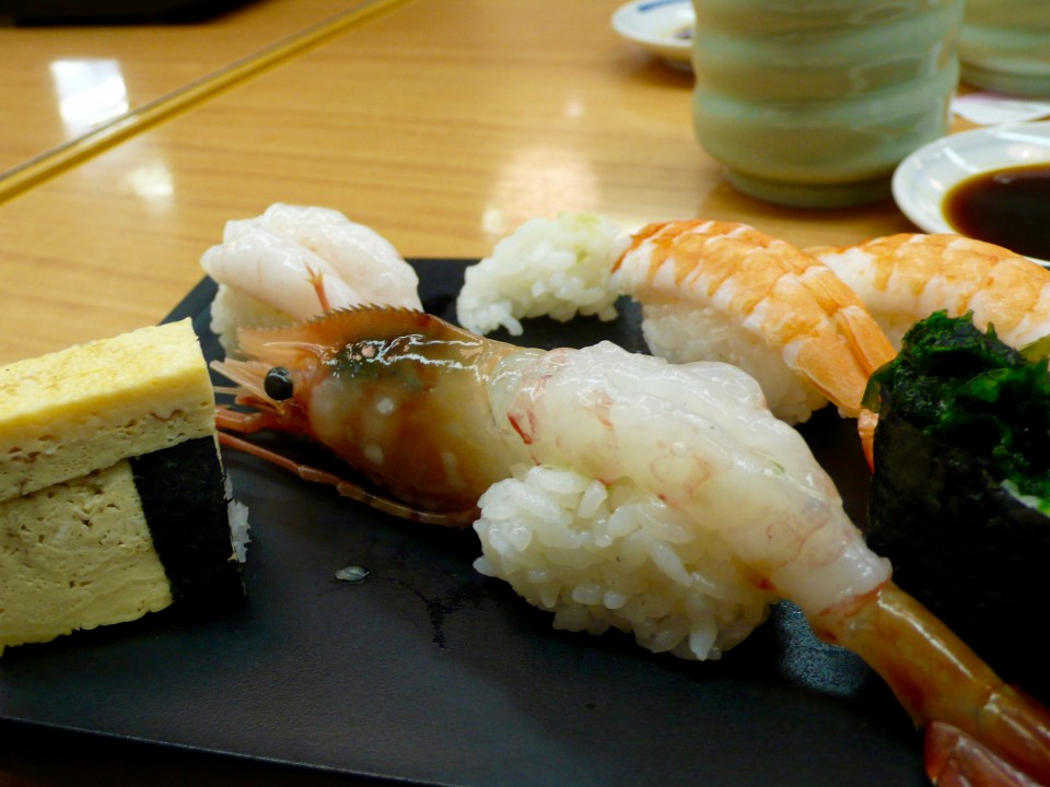 Then we headed to a sushi shop for breakfast. Whose idea was this? This is what Don ate for breakfast. I ate some sushi, too, (it was 6:50am)...when in Rome (Tokyo, in this case) and I must admit I felt a bit queasy afterwards.