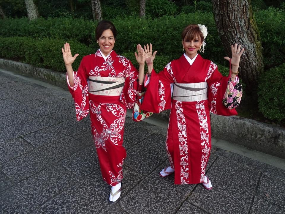 And lastly, we found that doing Warrior I-or any yoga at all- in our Kimonos was impossible! (Fran and Karin)