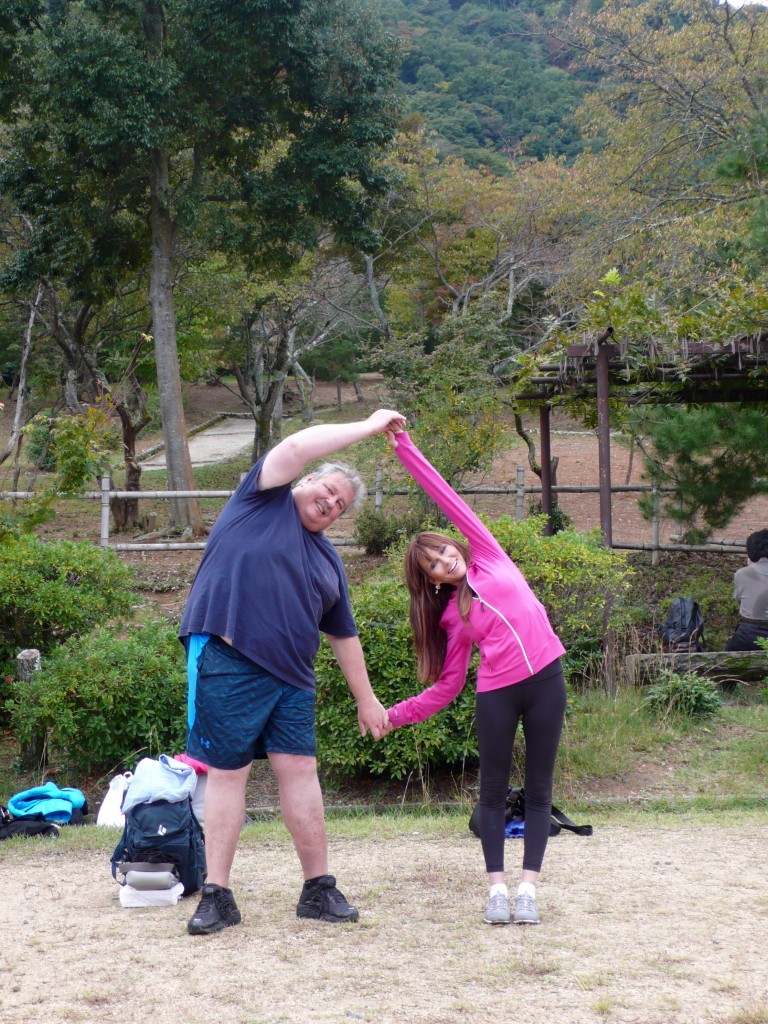 Next stop: yoga in Kameyama Park!  Wonderful outdoor standing yoga class!