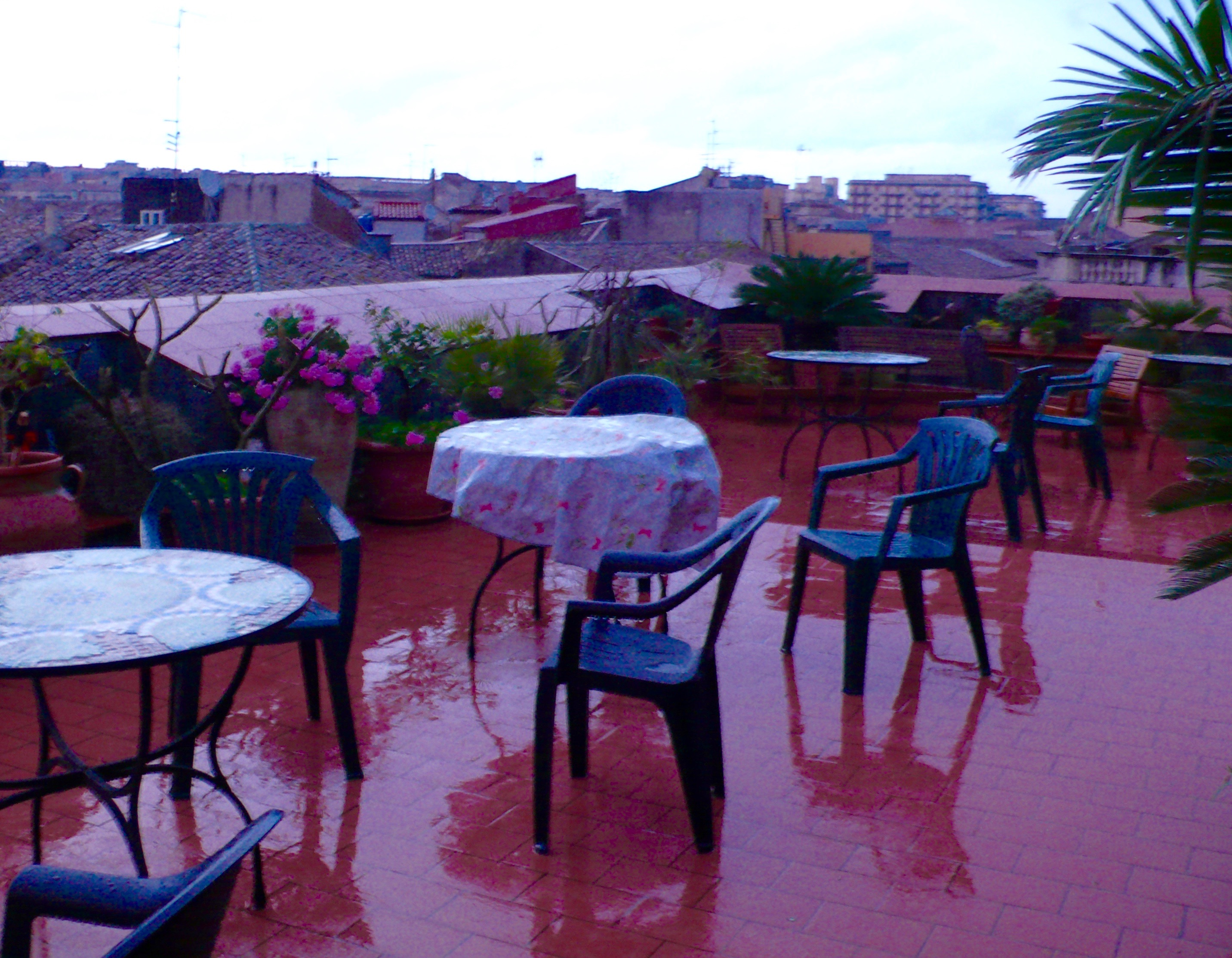 "Rain on our ""Sun-Kissed-No-More-Terrace"" this evening"