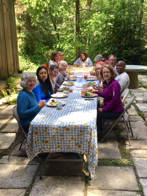 An exceptionally fine May day! We ate our Salad Nicoise at the outside table. (photo by Fran)