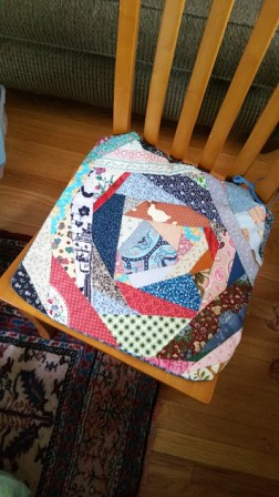 Wonky-pieced chair pad. A lot of fun to make.