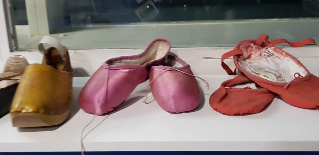 Ballet shoes on the shelf before the MacMillan ballet studio