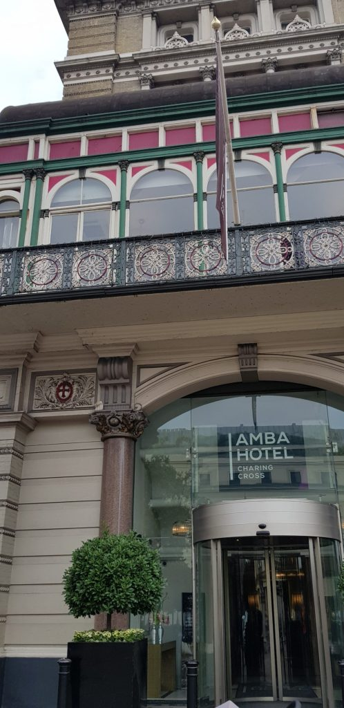 The entrance to the Amba Hotel in London