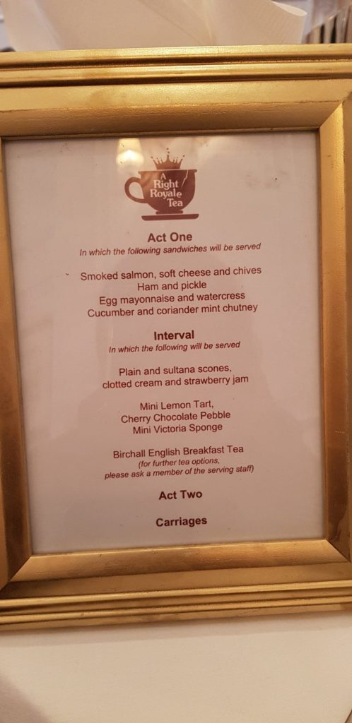 Afternoon Tea menu at A Right Royale Tea