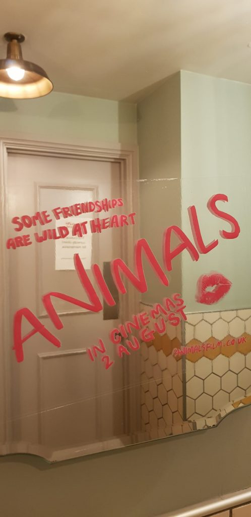 Animals inspired message in the mirror at the Picturehouse Central cinema, London