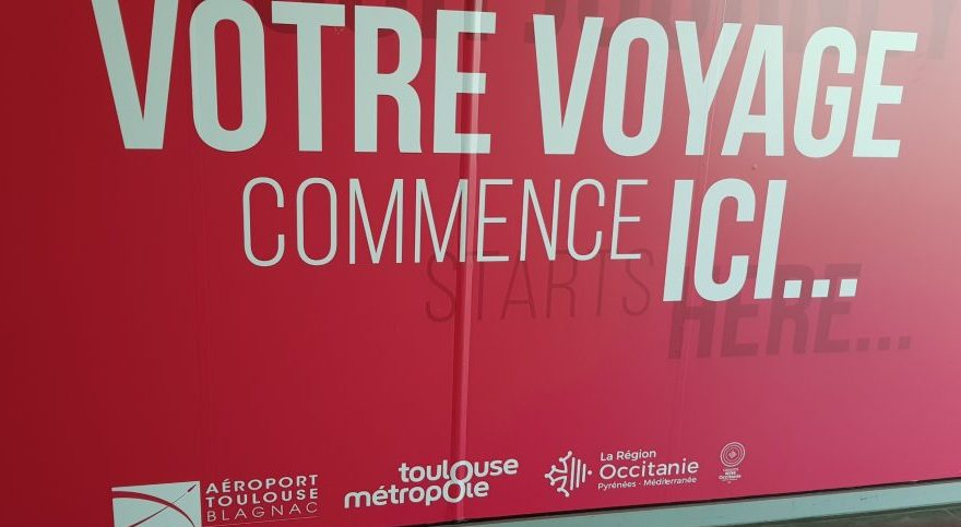Welcome to Toulouse sign at the airport
