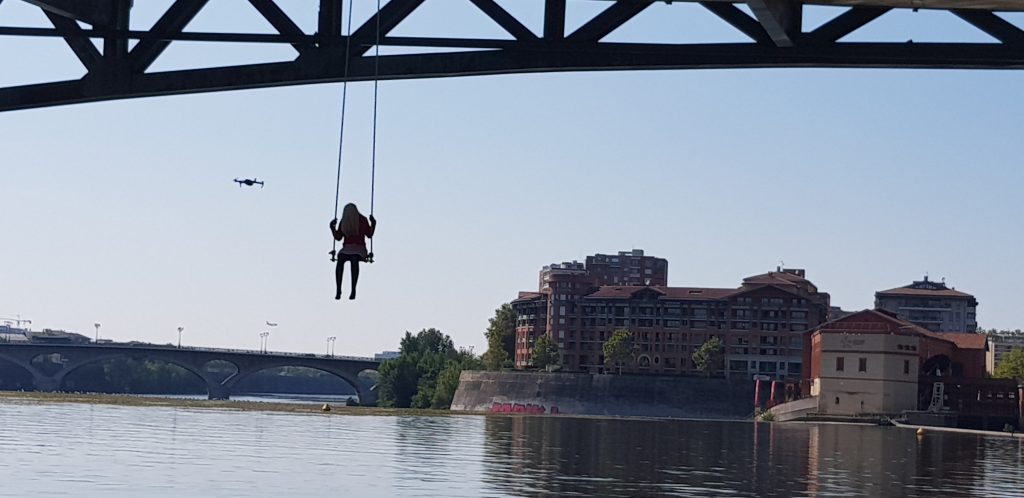 Mannequin and drone at Pont Saint Pierre in Toulouse