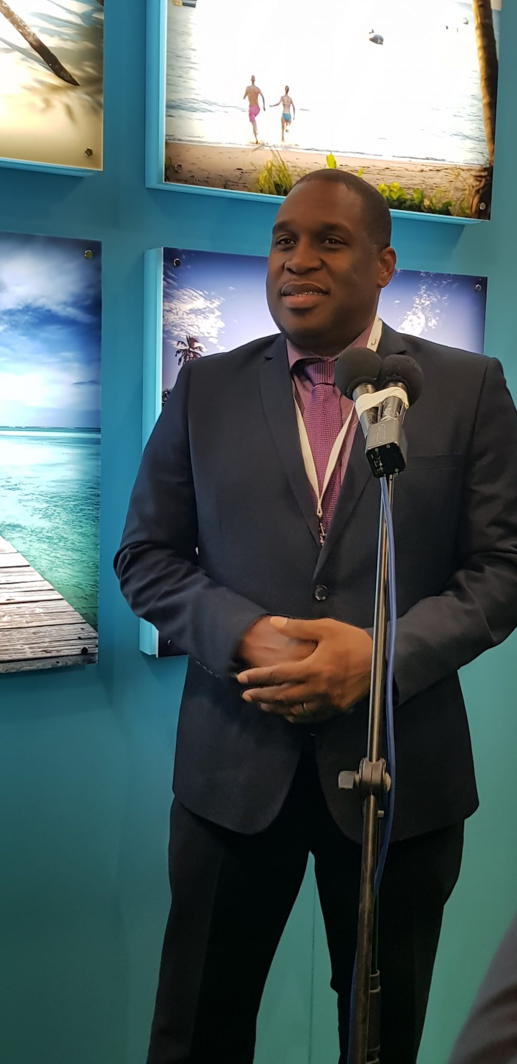 Louis Lewis at Tobago press conference at WTM