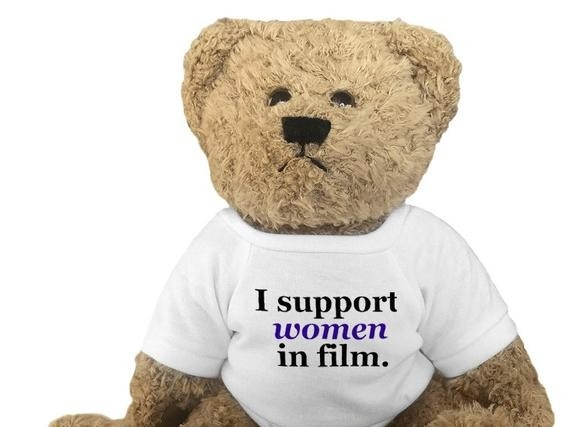 Teddy bear wearing I Support Women in Film t-shirt