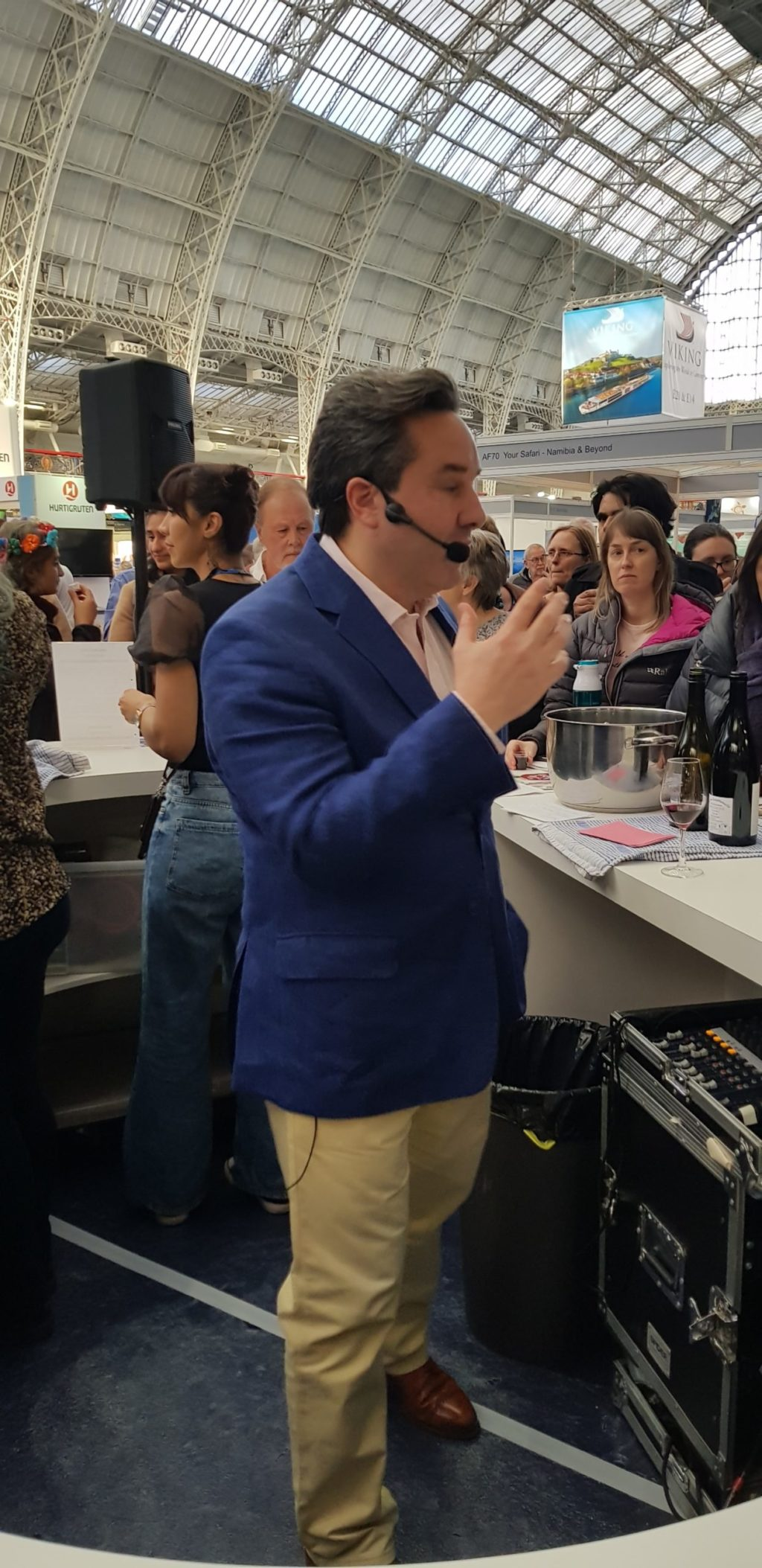 Will Lyons at the wine tasting session at The Destinations Show