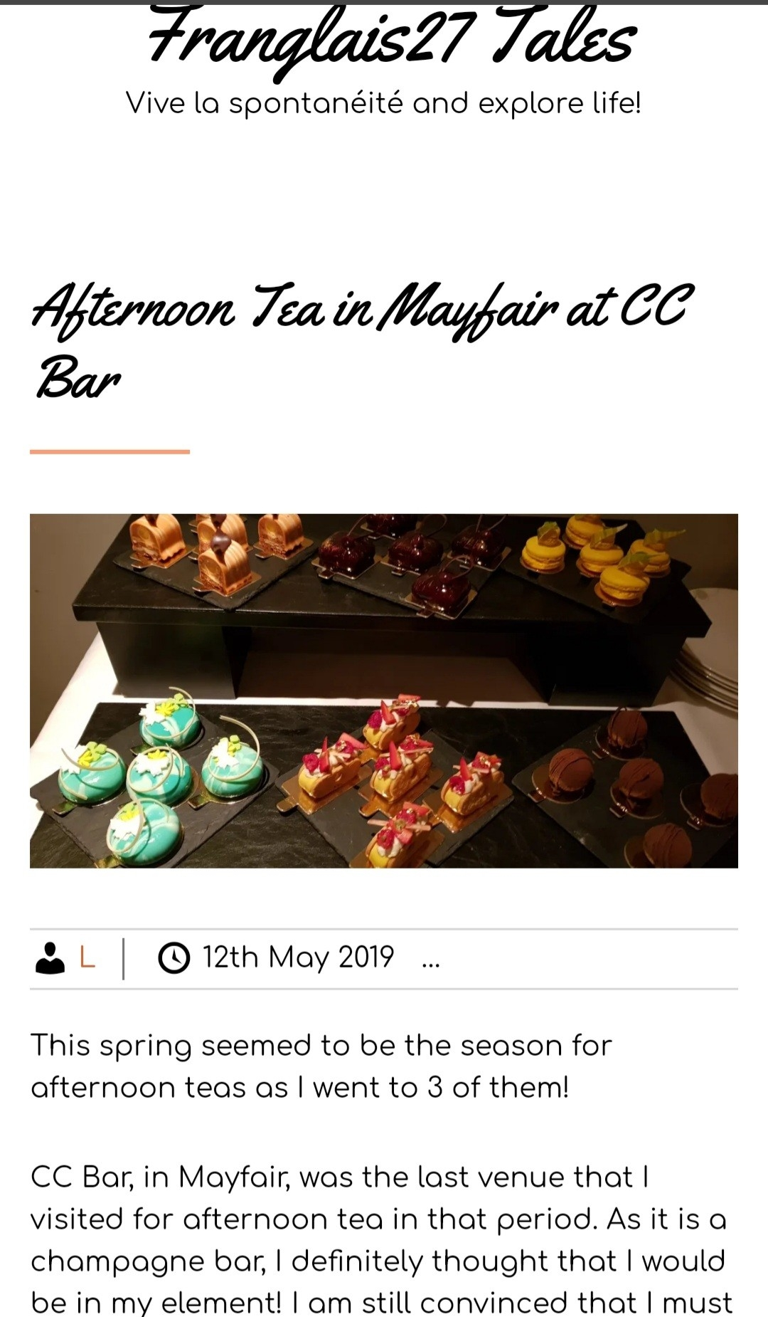 One of the afternoon tea published articles on Franglais27 Tales