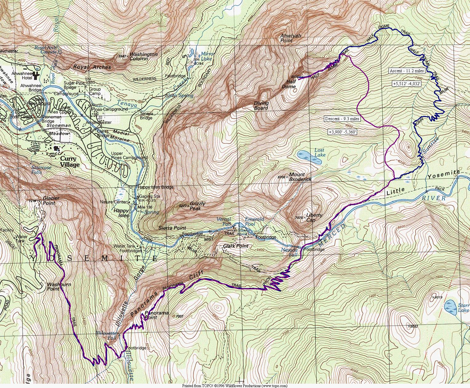 Tiocampo s 1980 Half Dome Trip Map This map shows a hike I made in 1980  from Glacier Point to the top of Half  Dome  and back  My companion was Mr  Doug Spinks  We did the trip in one