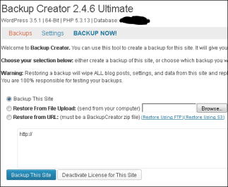Backup Creator start scherm