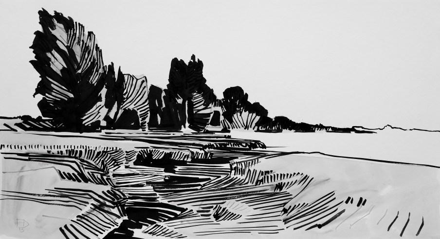 Kreek Achthoven 2013 o.i.inkt op papier 55 x 100 cm