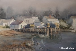 Lobster Traps Ready (2016) by Frank Eber | Atmospheric Watercolor Fine Art