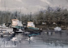 Working Late On The Tugs (2016) by Frank Eber | Atmospheric Watercolor Fine Art