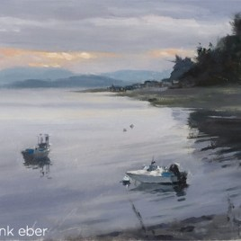 Langley Harbor, Whidbey Island (2017) by Frank Eber. Oil on board. Through gallery.