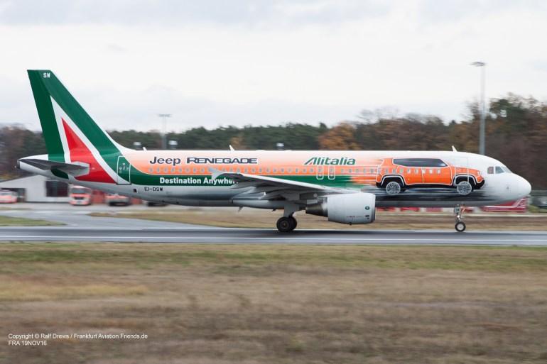 "EI-DSW Alitalia Airbus A320-216 (MSN 3609) ""Jeep Renegade"" Frankfurt 19.11.2016"