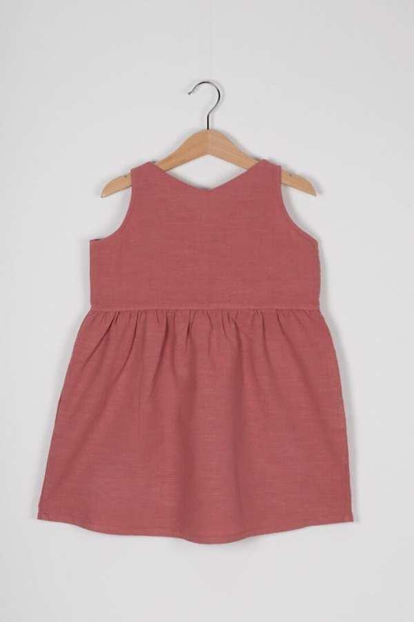 Produktfoto: Luftiges Kleid aus Bio-Leinenstoff für Kinder, Rückseite