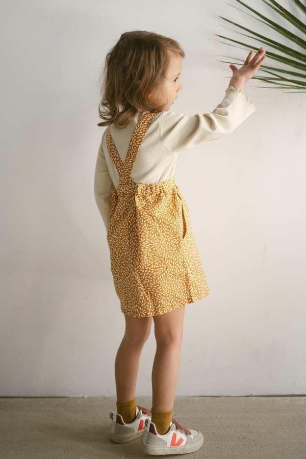 Leinen Rock mit abnehmbaren Trägern für Kinder