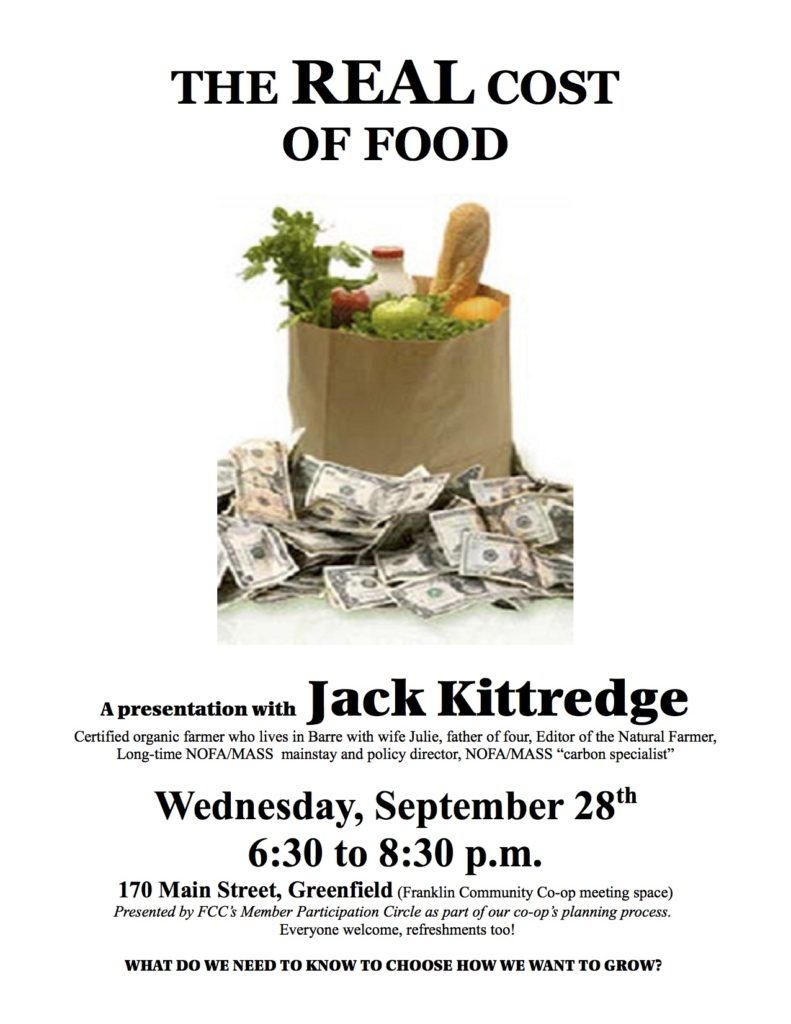 Poster for Real Cost of Food 9-28-16