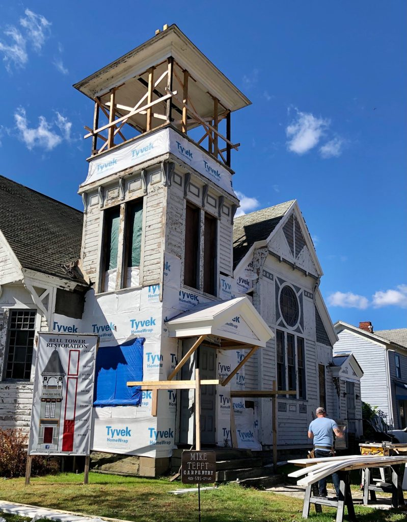 Construction in progress on the Tower of the former.Grace Lutheran Church