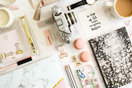 My Workday Essentials | feat desk essentials stationery, tea & camera