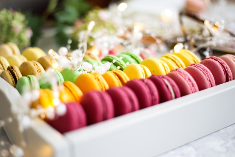 Blog Photography | Four Photo Styling Props I Love feat macarons in grey tray, close up