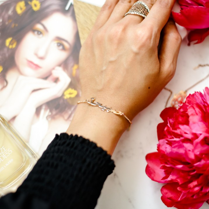 Summer Fashion & Beauty Favourites | feat oNecklace Arabic Name Bracelet in Rose Gold worn on arm