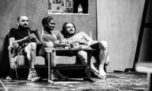 Tom Edden, Jade Anouka and Garmon Rhys in rehearsals for Doctor Faustus. Image Credit: Matt Humphrey