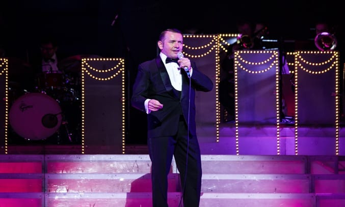 Garrett Phillips as Frank Sinatra in THE RAT PACK - LIVE FROM LAS VEGAS. Photo: Betty Zapata