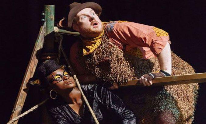 Dyfrig Morris as Baloo and Deborah Oyelade as Bagheera in THE JUNGLE BOOK
