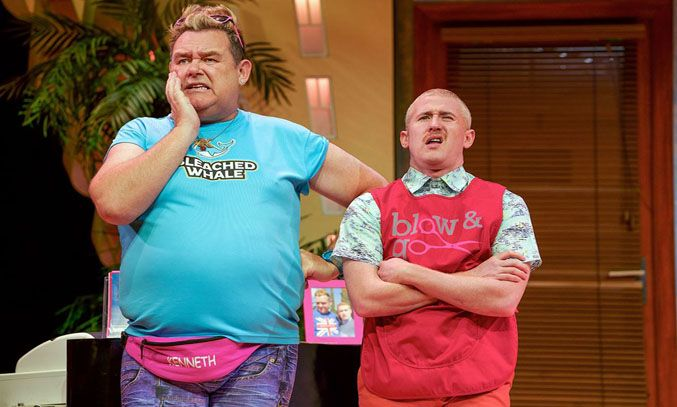 Tony Maudsley as Kenneth and Adam Gillen as Liam in BENIDORM LIVE