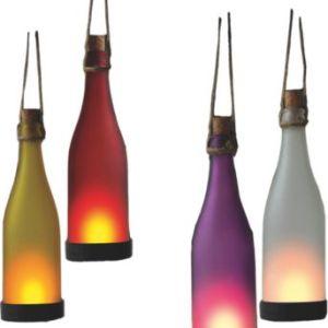 Garden Pleasure Solar-Leuchte Glasflasche 4er-Set - in gelb, rot, weiß und lila