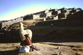 Vrouw met lama bij de ruïnes van Sacsayhuaman, Cuzco