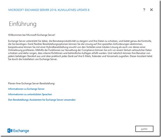 Installation Exchange 2016 CU8 auf Server 2016
