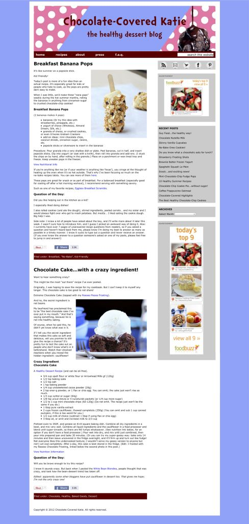 Chocolate-Covered Katie homepage proposal