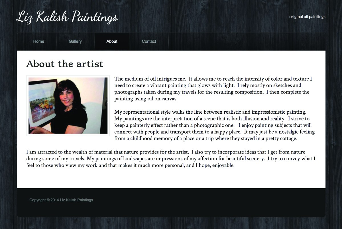 Liz Kalish Paintings about page