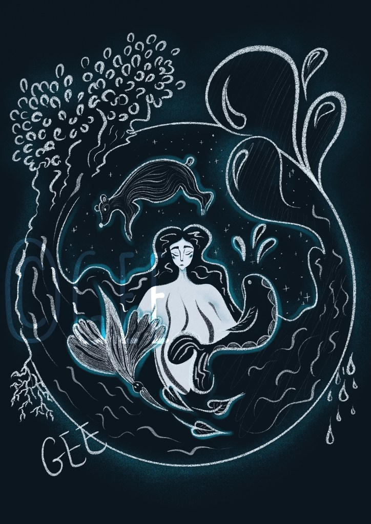 The figure of Mother Nature surrounded symbols representing Earth and water. She is encircled by illustrations of a polar bear, whale and bird, with a tree, encircled by a tree and waves. The illustration is set on a dark starry background with mother nature at its centre