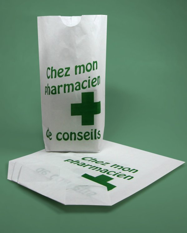 sacs papier écornés pharmacie
