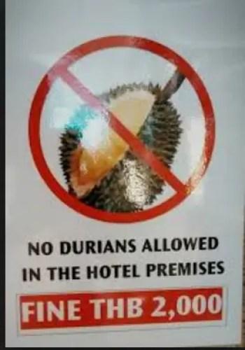 No Durian sign Thailand