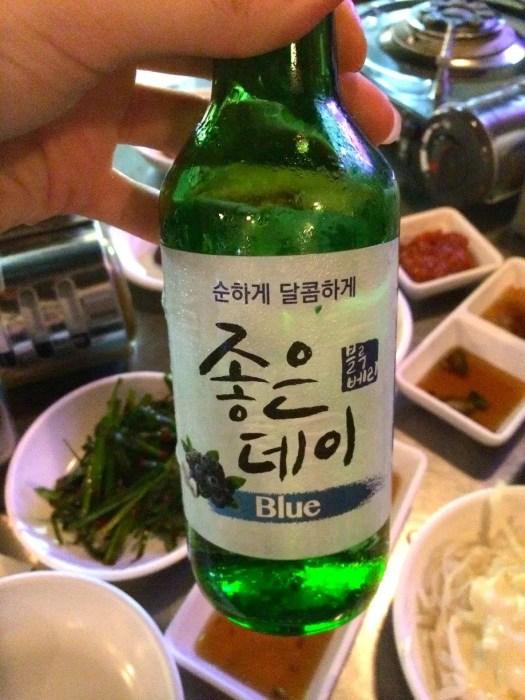 Blueberry flavour Soju in Seoul South Korea