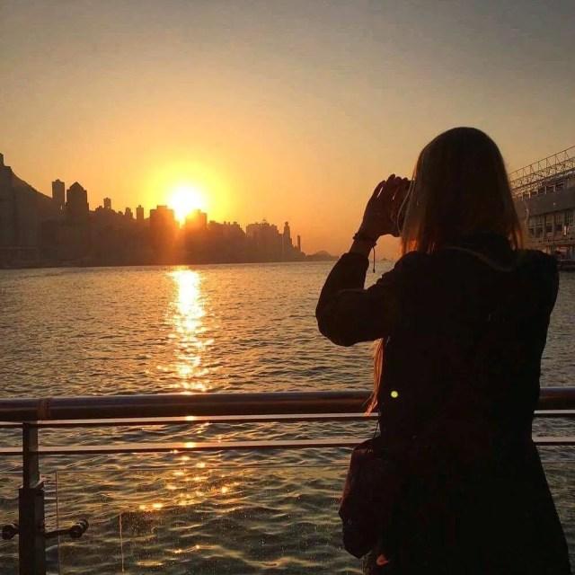 Hong Kong Island at sunset