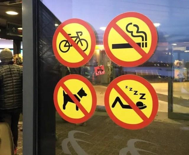 KEF airport - No bikes, No smoking, No dogs, No sleeping