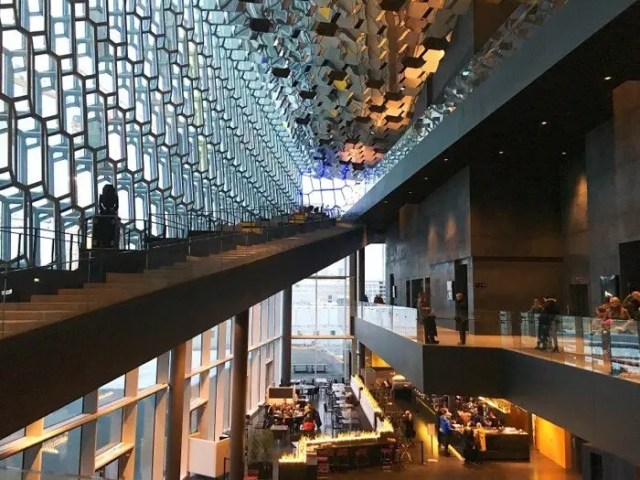 Inside in the warm Harpa building