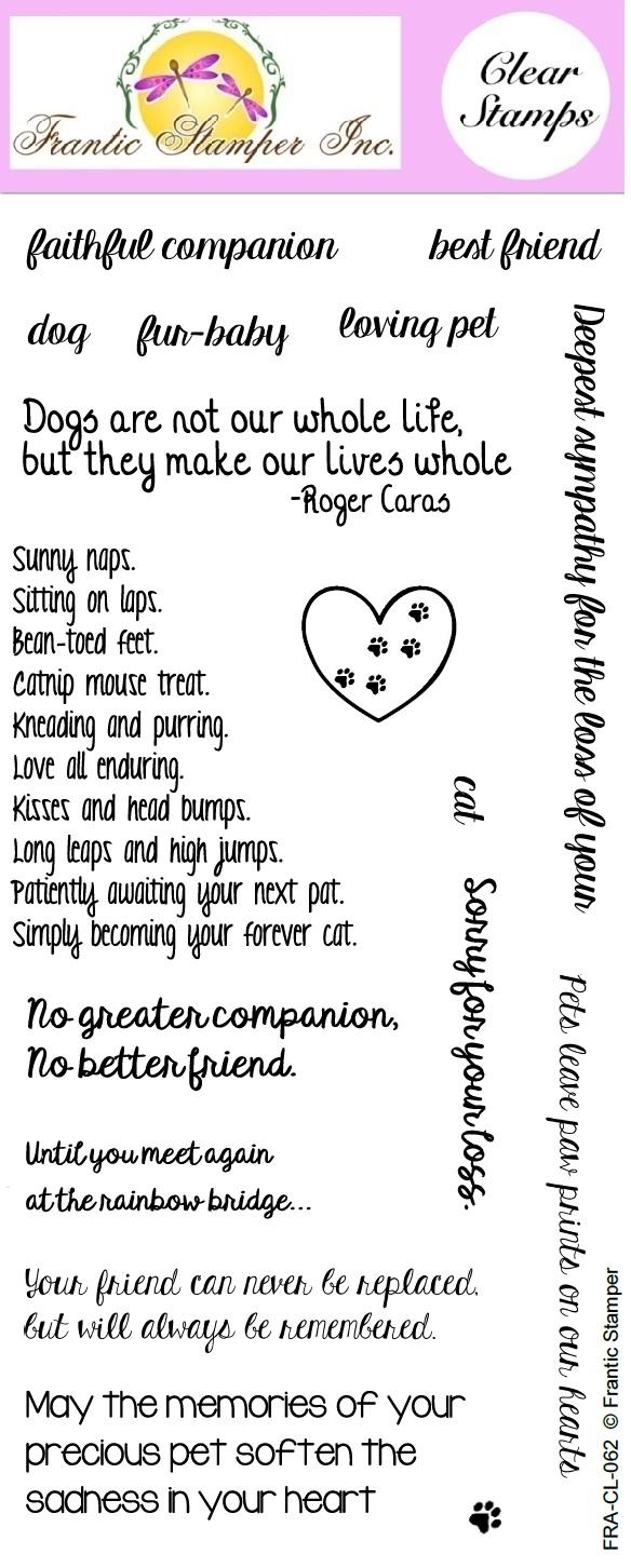 Frantic Stamper Clear Stamp Set Pet Sympathy