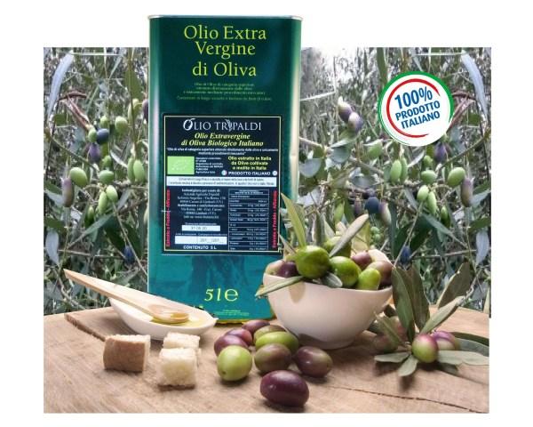 Olio Evo ExtraVergine di Oliva Italiano Biologico Estratto a Freddo Affiorato/Integrale «Tripaldi» 5 Lt