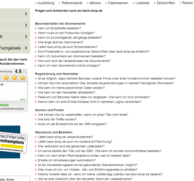 Screenshot FAQs beck-shop.de
