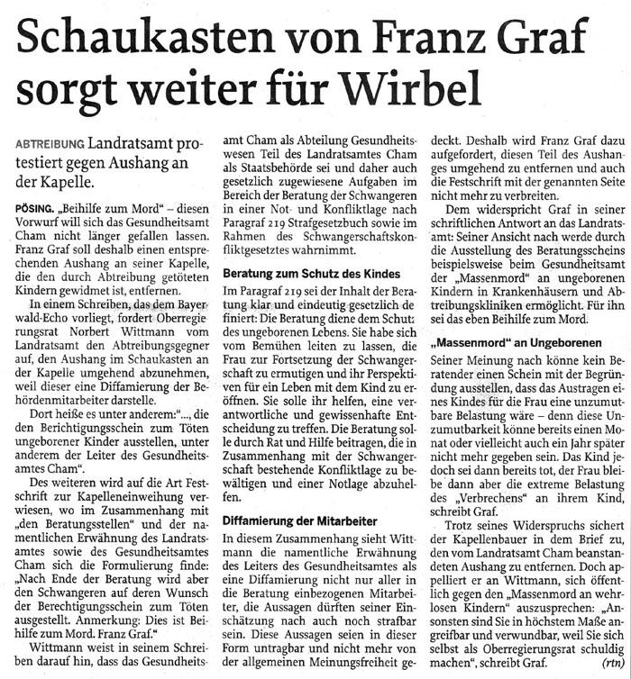 Schaukasten von Franz Graf sorgt für Wirbel